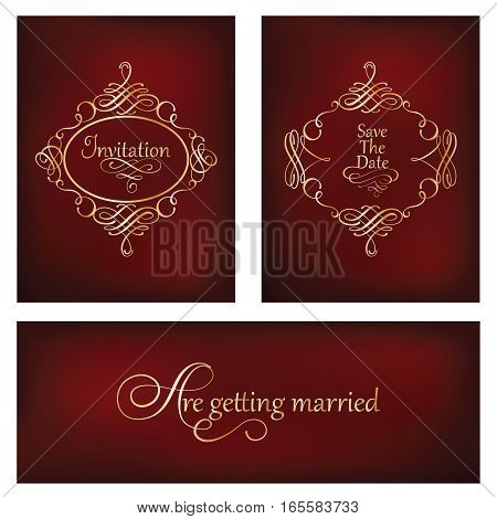 Vector set of cards with calligraphic elements and page decoration safe the date wedding invitations. Collection of vintage golden frames on blurred dark red background.