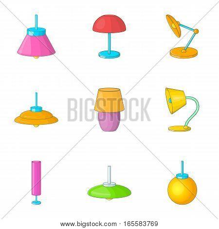 Home decoration lamp icons set. Cartoon illustration of 9 home decoration lamp vector icons for web