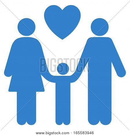 Family Love vector icon. Flat cobalt symbol. Pictogram is isolated on a white background. Designed for web and software interfaces.