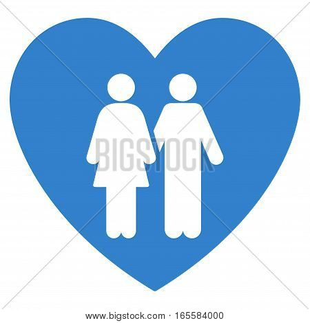 Family Love Heart vector icon. Flat cobalt symbol. Pictogram is isolated on a white background. Designed for web and software interfaces.