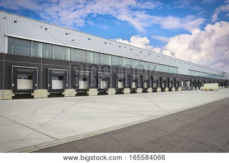 Dock Cargo Doors At Big Warehouse