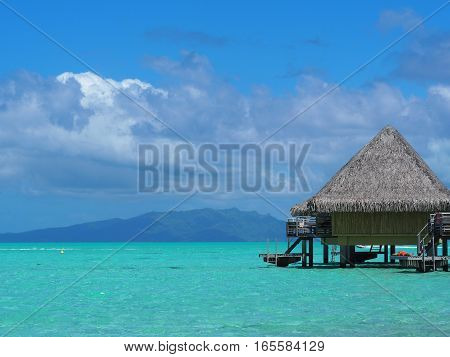 Overwater bungalow in bora bora french polynesia