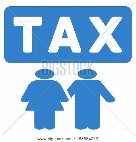 Family Tax Pressure vector icon. Flat cobalt symbol. Pictogram is isolated on a white background. Designed for web and software interfaces.