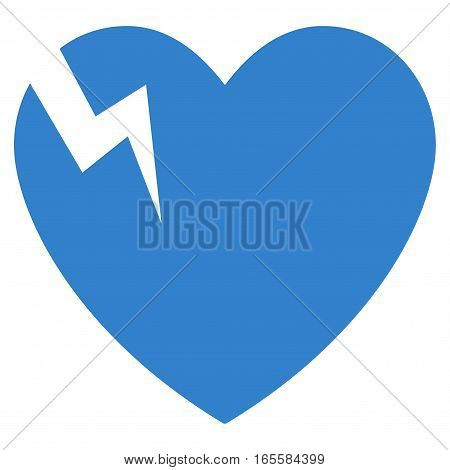 Heart Crack vector icon. Flat cobalt symbol. Pictogram is isolated on a white background. Designed for web and software interfaces.