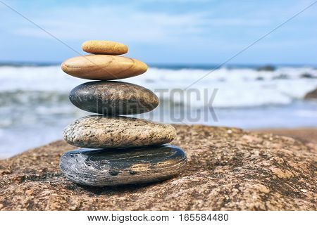 Zen Balancing Pebbles on beach, Peaceful Concept