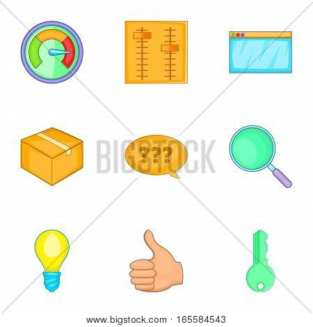 Business and strategy icons set. Cartoon illustration of 9 business and strategy vector icons for web