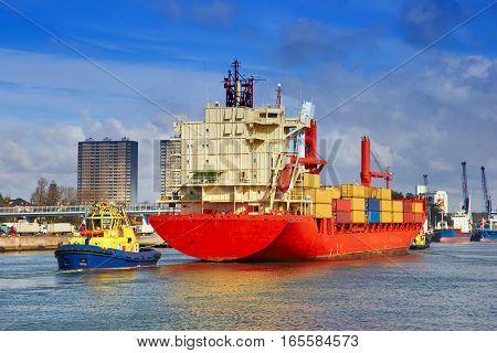 Tanker At Sea Towed By Tug, Porto, Portugal