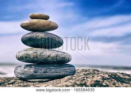 Zen Balancing Pebbles, Peaceful Concept, Zen like