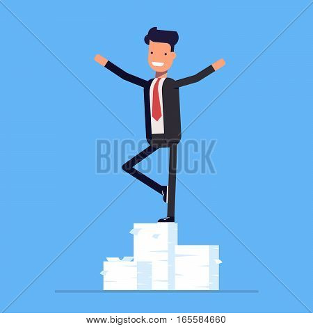Businessman or manager performs a trick on a big pile of documents. Vector, illustration EPS10