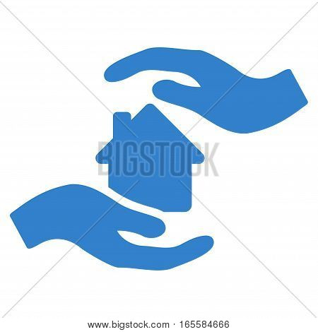 House Care Hands vector icon. Flat cobalt symbol. Pictogram is isolated on a white background. Designed for web and software interfaces.