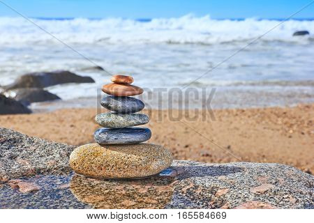 Pebbles On Beach, Symbols Of Peace