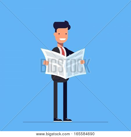 Businessman or manager reading a newspaper. Daily news. Vector, illustration EPS10