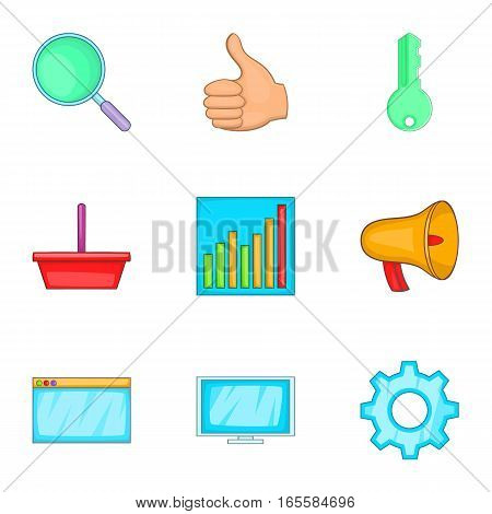 Business start up icons set. Cartoon illustration of 9 business start up vector icons for web