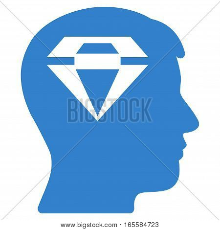 Human Head With Diamond vector icon. Flat cobalt symbol. Pictogram is isolated on a white background. Designed for web and software interfaces.