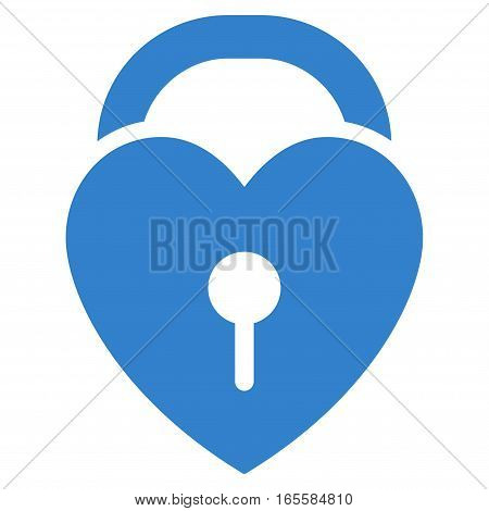 Love Heart Lock vector icon. Flat cobalt symbol. Pictogram is isolated on a white background. Designed for web and software interfaces.