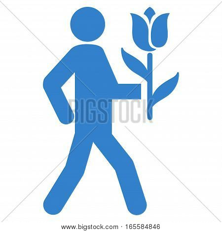 Lover With Flower vector icon. Flat cobalt symbol. Pictogram is isolated on a white background. Designed for web and software interfaces.