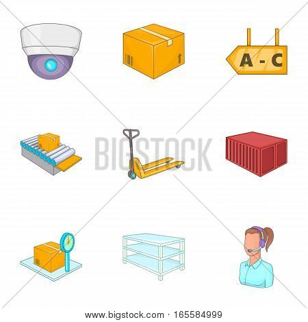 Logistic icons set. Cartoon illustration of 9 logistic vector icons for web