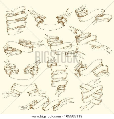 Vintage ribbon collection of different shapes and forms in hand drawn style isolated vector illustration