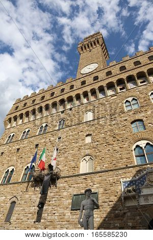 Florence Old Palace Called Palazzo Vecchio In Italy