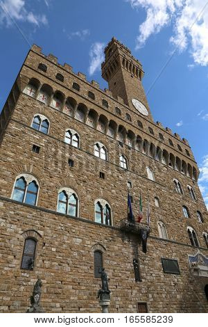 Florence Italy Historic Palace Called Palazzo Vecchio In The Sig
