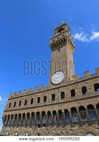Old Palace Called Palazzo Vecchio And Clock Tower In Florence It