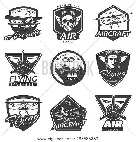 Vintage aircraft labels collection with airplanes pilots skull propellers in monochrome style isolated vector illustration