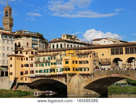 Old Bridge called Ponte Vecchio in Florence Italy over Arno River poster