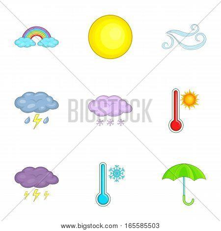 Forecasting app icons set. Cartoon illustration of 9 forecasting app vector icons for web