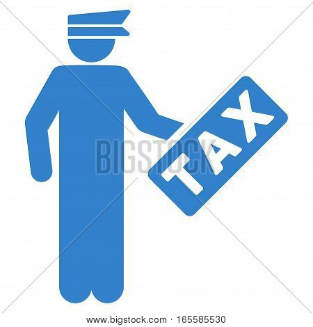Tax Officer vector icon. Flat cobalt symbol. Pictogram is isolated on a white background. Designed for web and software interfaces.