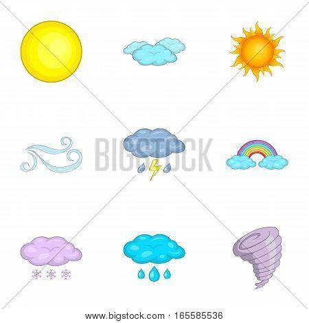 Weather forecast icons set. Cartoon illustration of 9 weather forecast vector icons for web