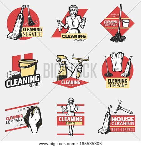 Colorful cleaning company logotypes with maid and washing tools in vintage style isolated vector illustration