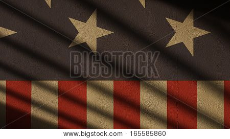 Usa Flag on Concrete with Gate Shadow. Stars and Stripes