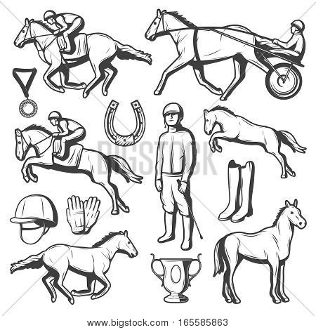 Vintage equestrian sport elements collection with horses riders cup medal horseshoe boots gloves cap isolated vector illustration