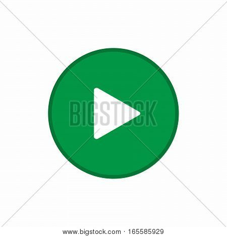 Green play button icon vector design isolated on white background