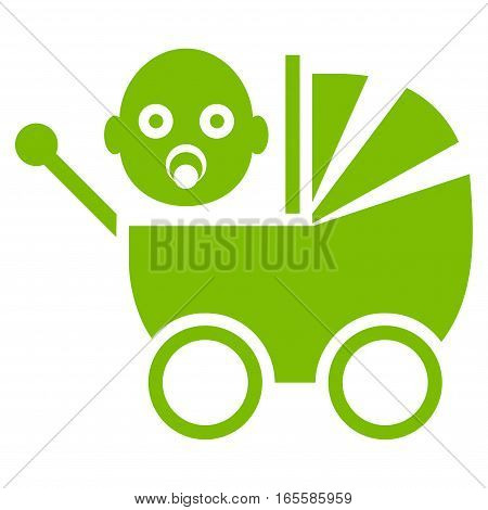 Baby Carriage vector icon. Flat eco green symbol. Pictogram is isolated on a white background. Designed for web and software interfaces.