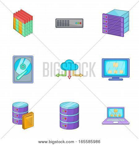 Network icons set. Cartoon illustration of 9 network vector icons for web