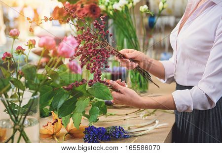 Close up of female arms joining plants in flower shop. Woman is standing near table and holding branches of rowan