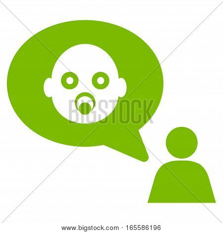 Baby Thinking Person vector icon. Flat eco green symbol. Pictogram is isolated on a white background. Designed for web and software interfaces.
