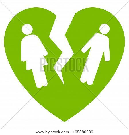 Broken Family Heart vector icon. Flat eco green symbol. Pictogram is isolated on a white background. Designed for web and software interfaces.