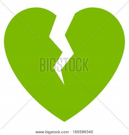 Broken Heart vector icon. Flat eco green symbol. Pictogram is isolated on a white background. Designed for web and software interfaces.