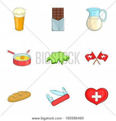 Travel Switzerland symbols icons set. Cartoon illustration of 9 travel Switzerland symbols vector icons for web