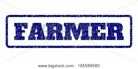 Navy Blue rubber seal stamp with Farmer text. Vector tag inside rounded rectangular frame. Grunge design and scratched texture for watermark labels. Horisontal emblem on a white background.