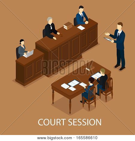 Isometric judicial session concept with judge at trial table and lawyers vector illustration