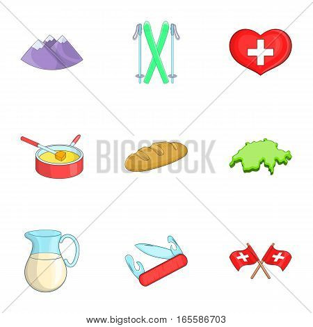 Switzerland tourists attractions symbol icons set. Cartoon illustration of 9 Switzerland tourists attractions vector icons for web