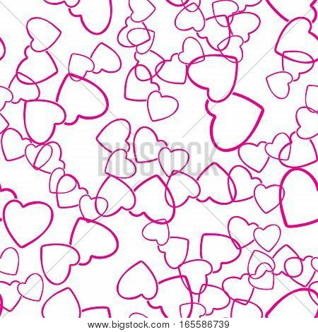 Two hearts seamless pattern. Pink pairs of heart symbols randomly placed on white background. Stylized texture for Valentine day wrap or greeting card design. Vector eps8 illustration.