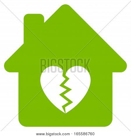 Divorce House Heart vector icon. Flat eco green symbol. Pictogram is isolated on a white background. Designed for web and software interfaces.