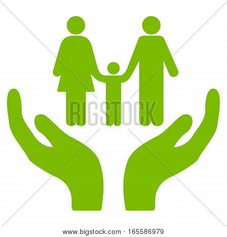 Family Care Hands vector icon. Flat eco green symbol. Pictogram is isolated on a white background. Designed for web and software interfaces.
