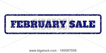 Navy Blue rubber seal stamp with February Sale text. Vector tag inside rounded rectangular shape. Grunge design and dust texture for watermark labels. Horisontal sticker on a white background.