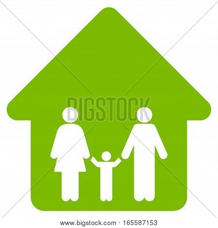 Family Home vector icon. Flat eco green symbol. Pictogram is isolated on a white background. Designed for web and software interfaces.