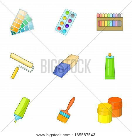 Art instruments for painting icons set. Cartoon illustration of 9 art instruments for painting vector icons for web
